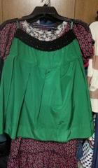 グリーン緑ミニスカートウエストゴム黒シルバーラメM9号