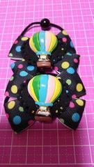 Wヘアゴム☆気球☆黒にカラフル水玉柄