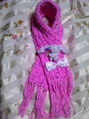 【\500送込処分セール】A11手編みミニマフラー リボン ピンク