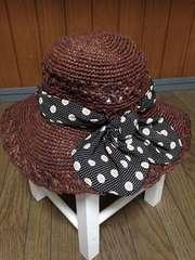 スナイデル ドットプリントリボン付折りたたみつば広麦わら帽子