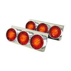 新品 丸型 3連LEDテールランプ 左右2個セット/24V/赤橙 [36220]