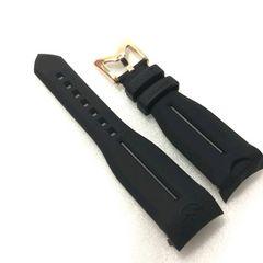 GaGa MILANO/ガガミラノ48mm用ラバーベルト ブラックゴールド定価16200円