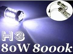 80W LED フォグランプ H3 左右2個セット ブルーホワイト