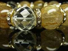 運気上昇パワーストーン 64面カット水晶×タイチンルチル数珠ブレスレット