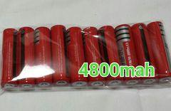 10本 大容量18650リチウムイオン電池4800mah 3.7V