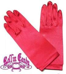 g07)サテンショートグローブ赤レッドダンスダンサーステージ衣装手袋パーティー発表会