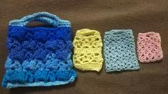 手編みのミニバック4点