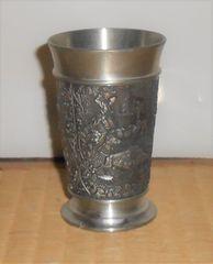 欧州アンティーク風中世の絵柄風入り錫製タンブラー