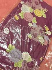 浴衣*紫色パープル*花*クリーニング済み*美品