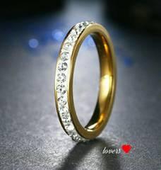 送料無料19号ゴールドスーパーCZダイヤフルエタニティリング指輪