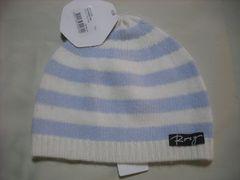 wb195 ROXY ロキシー ボーダー ウールニット帽 白青