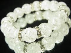 大特価!!爆裂水晶クラック12ミリ数珠ブレスレット!!人気UP