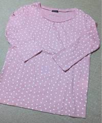 ピンク×白水玉 7分丈袖 薄手ロンT Lサイズ
