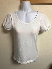 ★白×シンプル ブラカップ付Tシャツ  M★A