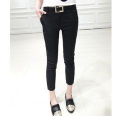 *3L★大きいサイズ 2点セット*シンプル7分丈パンツ 黒 ブラック 即決