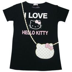 ◆新品◆ハローキティ◆Tシャツ◆黒◆ポシェット◆