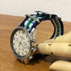 ★腕時計★ストライプラインナイロンベルトウォッチ★★紺系★