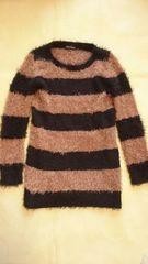 ★黒ブラック×茶ブラウン太ボーダー長袖ロング丈ニットセーター