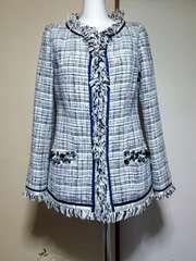 メイソングレイ/ビッキービジュー飾り可愛い上品ツィードノーカラージャケットコート1