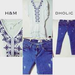 H&M、Dholic 刺繍チュニック、ダメージスキニーセット売り