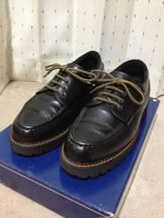 古着 ワーク 4ホール レザーシューズ 革靴 25cm 黒 日本製 ハンドメイド パラブーツ
