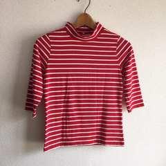 ◆定番ボーダーTシャツ◆七分袖ロンT★レッド×ホワイトM*美品♪カジュアルコーデ
