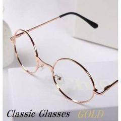 新品☆ゴールド クラシック丸メガネ  伊達眼鏡
