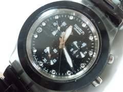 モバオクで買える「10352/swatchスウォッチ大型フェイス!スポーツクロノグラフモデルブラック&スケルトン仕様★」の画像です。価格は190円になります。