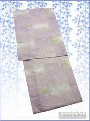 【和の志】夏の洗える着物◇絽Mサイズ◇薄小豆系・麻の葉◇69