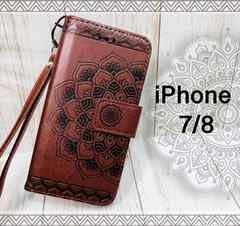 iPhone7/8 手帳型 花柄ケース オルテガ +液晶フィルム 茶色