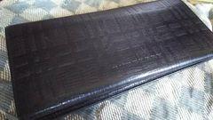 バーバリー 本革製三折財布 ブラック・中古