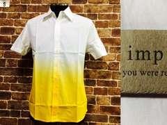 表記S/新品!imp.黄×白.グラデーション半袖カラーシャツ.西海岸サーフスタイル
