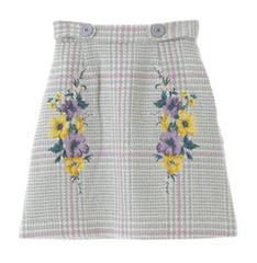 トランテアンソンドゥモード☆花柄刺繍スカート