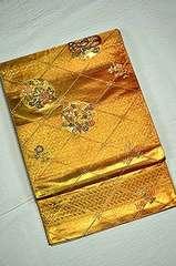 千鳥523*金箔置きに花丸 上品な袋帯 美品