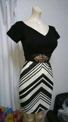 白×黒 ベルト付ナイトドレス
