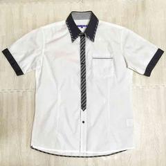 【美品】二重襟デザイン半袖シャツ/semantic design/白/メンズM