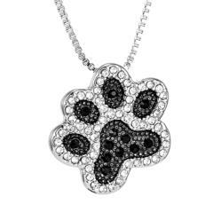特A品 新品1円〜★送料無料★ブラックダイヤモンド 猫の足跡 シルバーネックレス