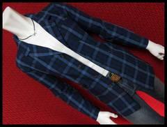 SALEインディゴ染めチェックシャツコートチェスター/87/M