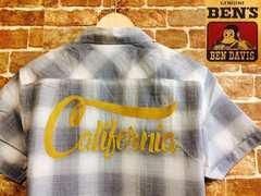表記M/新品!ベンデイビス.BEN'S.カリフォルニア刺繍入りシャドーチェックシャツ.RUDO