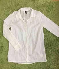 H&M★DIVIDED 白シャツ 綿 白ブラウス 羽織り ウエストベルトで