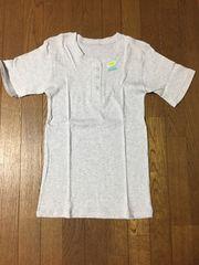 男性用 薄グレー リブ素材 綿100% 半袖ボタンTシャツ
