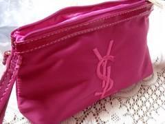 イヴ・サンローラン YSL ナイロン刺繍ポーチ ローズピンク色
