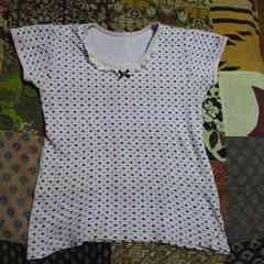 キッズハート柄 襟元フリル Tシャツ130�p