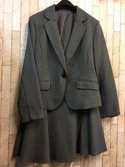 新品☆15号グラマーサイズ洗えるスカートスーツグレーj818