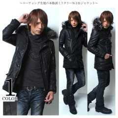 美品¥3万ゴスタFUGAフーガリアルファーN3Bコート黒46コーティングモッズコート