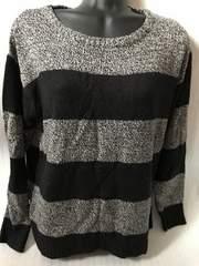 美品 ブラック×グレー ボーダーニット セーター