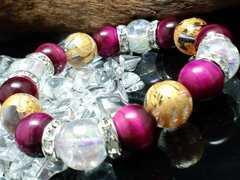 四神獣水晶ピンクタイガーアイ§オーラクラック12ミリ数珠