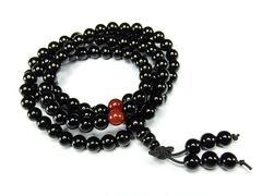 魔よけ天然石4Aオニキス6ミリ108粒長数珠ブレスレット
