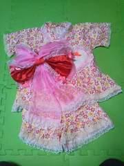 ハンドメイド浴衣お花柄フリルかわいい90〜100サイズ帯つき甚平