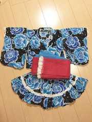 ◆ 超美品 ◆ ドレス 浴衣 ◆ 青薔薇 ◆ 帯2つ付き! 110cm